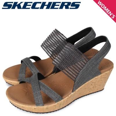 スケッチャーズ SKECHERS サンダル ウェッジサンダル レディース BEVERLEE-HIGH TEA ブラック 黒 31723