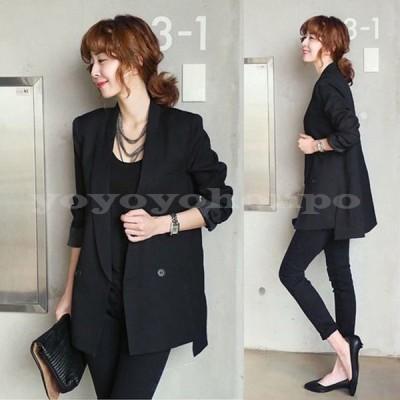 レディーステーラードジャケット大きいサイズスーツジャケットオフィス通勤OL長袖サマージャケット黒ブラックオシャレ