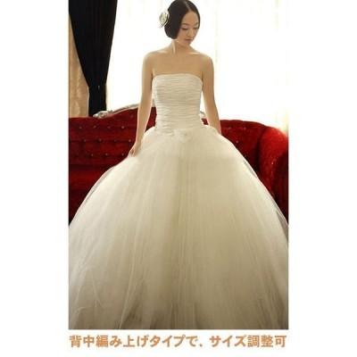 花嫁ウエディングドレス 編み上げタイプ ウエディングドレス 二次会 /白/結婚式