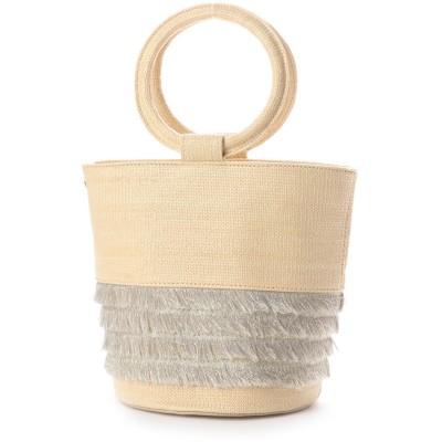 カカトゥ kakatoo フリンジ付き丸ハンドルバケツ型トートバッグ (ゴールド)