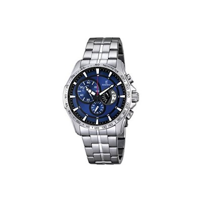 Festina CHRONO Men's Quartz Watch with Blue Dial Chronograph Display and Silver Stainless Steel Bracelet F6849/3 並行輸入品