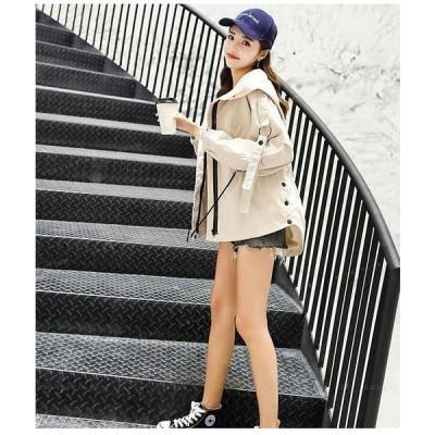 トレンチコートショートジャケットフード付きブルゾン防寒防風アウトドアゆったり