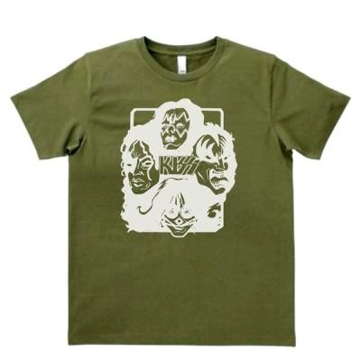 音楽・バンド・ロック・シネマ  Tシャツ KISS カーキー MLサイズ