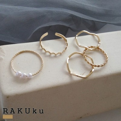 RAKUku ゴールドマルチリングセット♪アクセサリー リング 指輪 ゴールド重ねづけ カジュアル デイリー 通勤 通学 プレゼント ギフト 上品 パーティー 結婚式[20aw5260ac] ゴールド フリー レディース