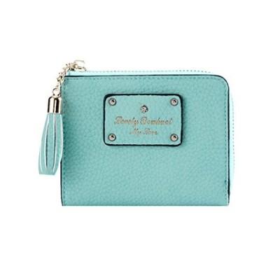 並行輸入品Damara レディース 中型 フリンジ ライチ柄 ファスナー 財布 お札ケース ブルー