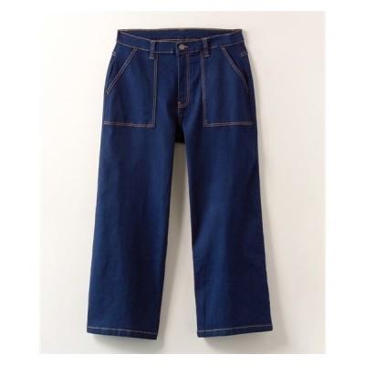 パンツ ストレート 大きいサイズ レディース 微起毛 デニム ベイカー LL/3L ニッセン nissen