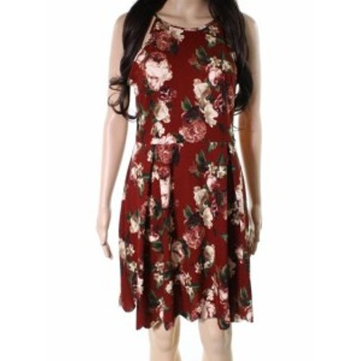 Soprano ソプラノ ファッション ドレス Soprano Red Size Small S Junior Floral Print Pleated Fit & Flare Dress