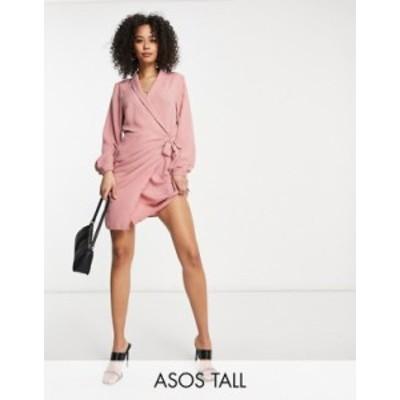 エイソス レディース ワンピース トップス ASOS DESIGN Tall collared wrap mini dress in pink Pink