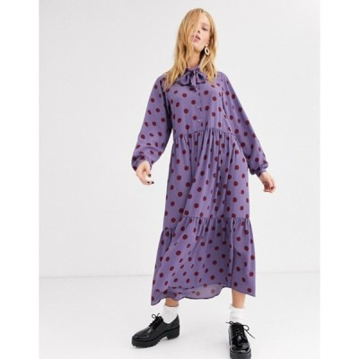 モンキ レディース ワンピース トップス Monki maxi rust polka dot dress with pussy bow neck in purple