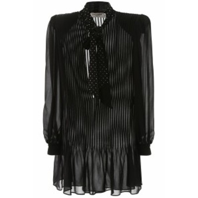 SAINT LAURENT PARIS/イヴ サンローラン ドレス NOIR Saint laurent silk mini dress レディース 秋冬2019 588106 Y059R ik