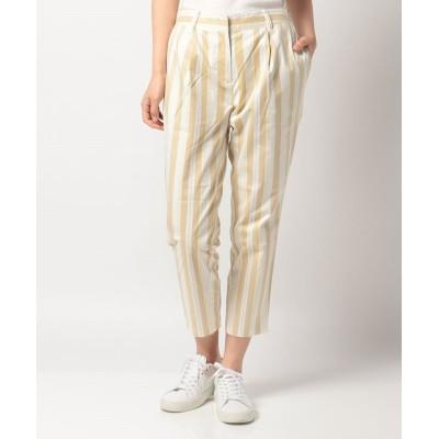【マンシングウェア】 ストライププリントストレッチ8分丈パンツ レディース ベージュ系 M Munsingwear