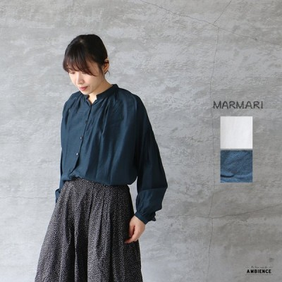SALE セール 20%OFF  MARMARI マルマリ キュプラコットンギャザーブラウス 送料無料 レディース 日本製 ホワイト ネイビー 2020SS