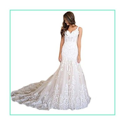 Fanao Women's V Neck Mermaid Lace Applique Straps Bridal Gown 16 Ivory並行輸入品