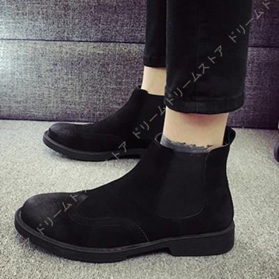 サイドゴア メンズ ショートブーツ ビジネスブーツ 裏起毛 暖かい カジュアルブーツ ビジネスシューズ ボア付き ハイカット ブーツ 革靴 紳士靴 ビジネス