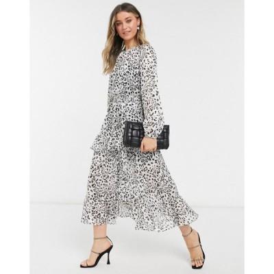 フォーエバーニュー Forever New レディース ワンピース ワンピース・ドレス Ruffled Split Midaxi Dress In Animal Spot モノスポット