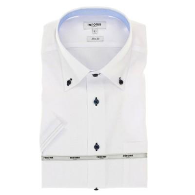 【タカキュー】 アイスカプセル形態安定スリムフィット ボタンダウン半袖ビジネスドレスシャツ/ワイシャツ メンズ ホワイト LL(XL) TAKA-Q
