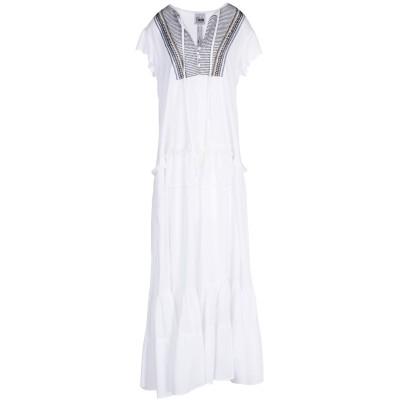 MY TWIN TWINSET ロングワンピース&ドレス ホワイト L レーヨン 55% / コットン 45% ロングワンピース&ドレス