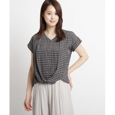 SunaUna/スーナウーナ 【洗える】幾何学柄プリント 裾タックブラウス ブラック(119) 40(L)