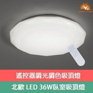 【Honey Comb】超薄星鑽LED36W遙控調光調色臥室吸頂燈(V3943C36)
