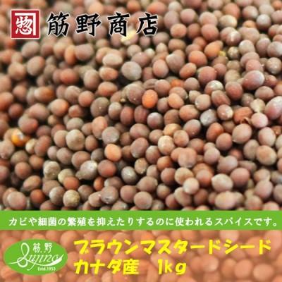 ブラウンマスタードシード 1kg カナダ産 ポイント消化 お試し お得 スパイス カラシ種子