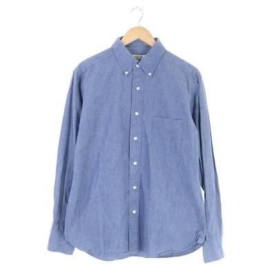 【中古】ミラーオブシンゾーン MIRROR OF Shinzone シャツ コットン 長袖 3 青 薄紺 /AO ■OS ■SH メンズ 【ベクトル 古着】