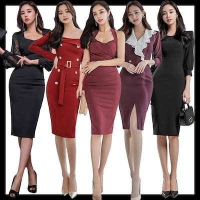 2021 新作追加 Special Offer4枚送料無料 高品質ワンピースドレス韓国ファッションOL正式な場合礼装ドレスセクシーなワンピース一字肩二点セット