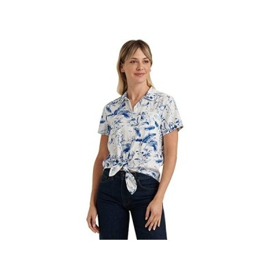 ラッキーブランド Short Sleeve Button-Up One-Pocket Tie Front Shirt レディース シャツ トップス Blue Multi