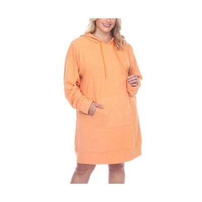 ホワイトマーク ワンピース トップス レディース Women's Plus Size Hoodie Sweatshirt Dress Orange 1