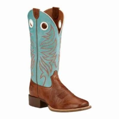 アリアト ブーツ Round Up Ryder Cowgirl Wide Square Toe Boot Wood/Sky Blue Full Grain Leather