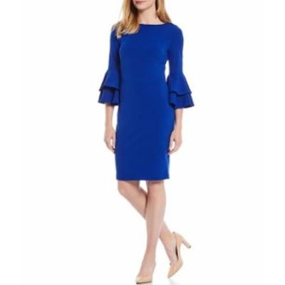 カルバンクライン レディース ワンピース トップス Scuba Crepe Tiered Bell Sleeve Sheath Dress Klein Blue