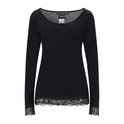ゲス GUESS T シャツ ブラック S コットン 50% / レーヨン 50% T シャツ
