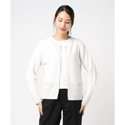 カーディガン 裾配色ツイードニットジャケット