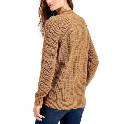 スタイルアンドコー ニット&セーター アウター レディース Petite Cotton Funnel-Neck Sweater, Created for Macy's Willow Brown