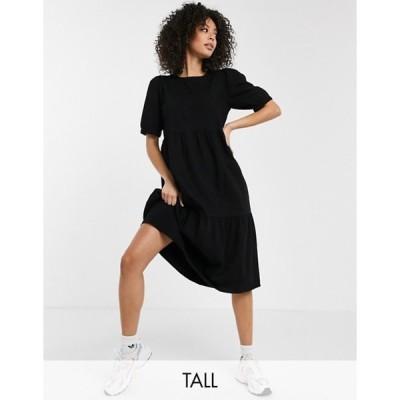 ノイジーメイトール レディース ワンピース トップス Noisy May Tall denim midi smock dress in black