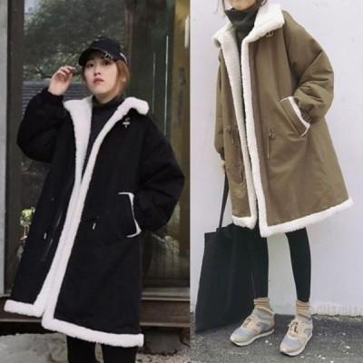 コート アウター ボア ロング ひざ丈 長袖 無地 スタンドカラー ゆったり 大きいサイズ オーバーサイズ もこもこ 秋 冬