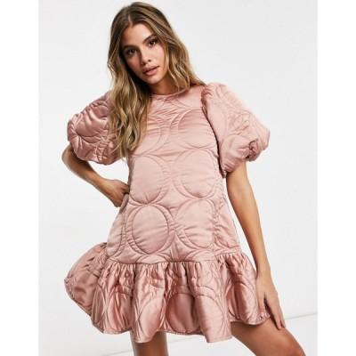 エイソス ASOS DESIGN レディース ワンピース ミニ丈 ワンピース・ドレス Premium Satin Quilted Mini Smock Dress With Puff Sleeves In Pink ピンク
