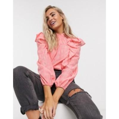 トップショップ レディース シャツ トップス Topshop pink plaid ruffle detail blouse in coral Coral