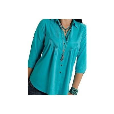 ウエスタン カウボーイ トップス ブラウス 海外セレクション Roper Western Shirt レディース 3/4 スリーブs Star Turq 03-050-0592-6049 BU