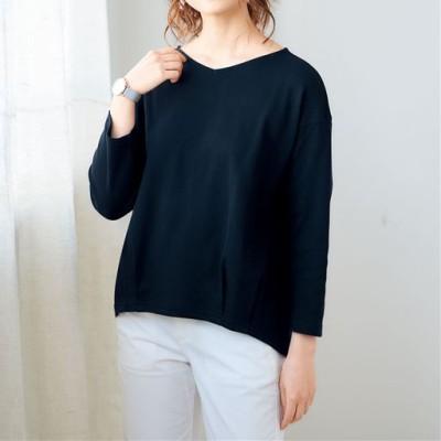 部屋干し対応今どきTシャツ8分袖(綿100%)/ネイビー/LL