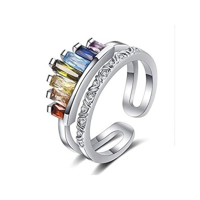 Eternity Rainbow Ring Wide Double Stacking Band Crystal Gemstone Statement