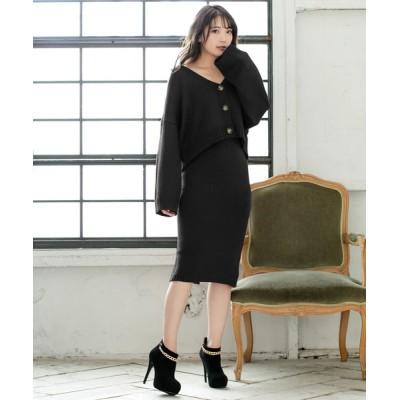 JULIA BOUTIQUE / 2点セット・ゆるカーディガンローゲージニットスカートセットアップ/510205 WOMEN トップス > ニット/セーター