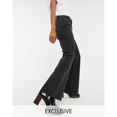 リクレイム ヴィンテージ レディース デニムパンツ ボトムス Reclaimed Vintage inspired The '86 super wide flare jean in washed black