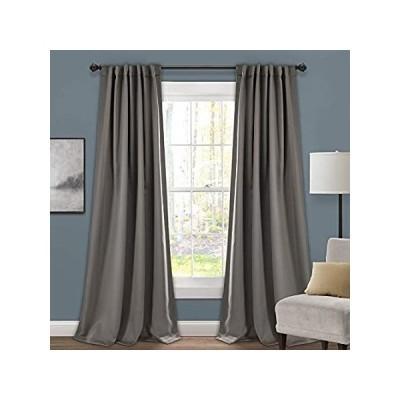 "Lush Decor 1 Insulated Back Tab Blackout Window Curtain Panel Pair, 84"" L x"