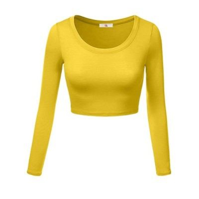 Womens Crop Top Round Neck Basic Long Sleeve Crop Top - Made In USA Ye