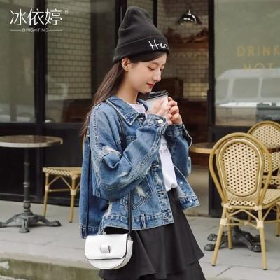 (良い品質)破れた穴のカウボーイのオーバーの女性のゆったりしたbf風の韓国版の復古港の味の短いタイプのジャケットの百合ins湿っている上着の学生