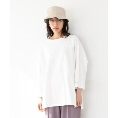 coen / FEELING MADE ソフトタッチスラブ サイドスリット フットボール Tシャツ WOMEN トップス > Tシャツ/カットソー
