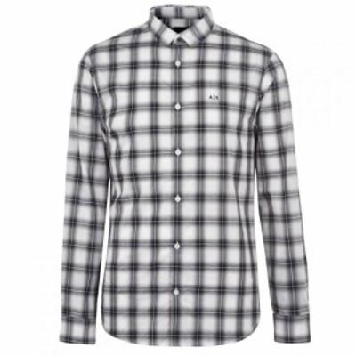 アルマーニ Armani Exchange メンズ シャツ トップス AX Check Shirt Sn94 White