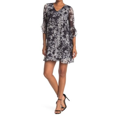 カルバンクライン レディース ワンピース トップス Bell Sleeve V-Neck Floral Trapeze Dress GNMTL MULT