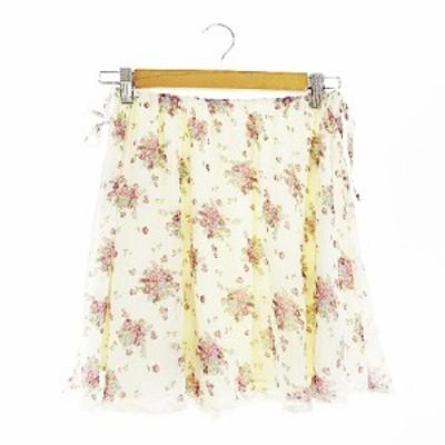 【中古】レストローズ L'EST ROSE スカート フレア ミニ 花柄 リボン 白 ホワイト /AAM5 レディース