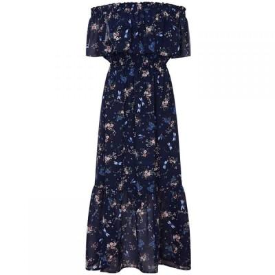 ユミ Yumi Curves レディース ワンピース マキシ丈 ワンピース・ドレス Dragonfly Print Bardot Maxi Dress Navy